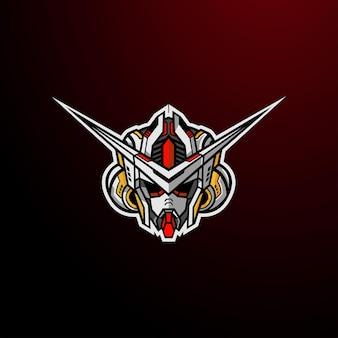 Logo robotique de tête de robot cyborg