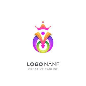 Logo roi coloré abstrait