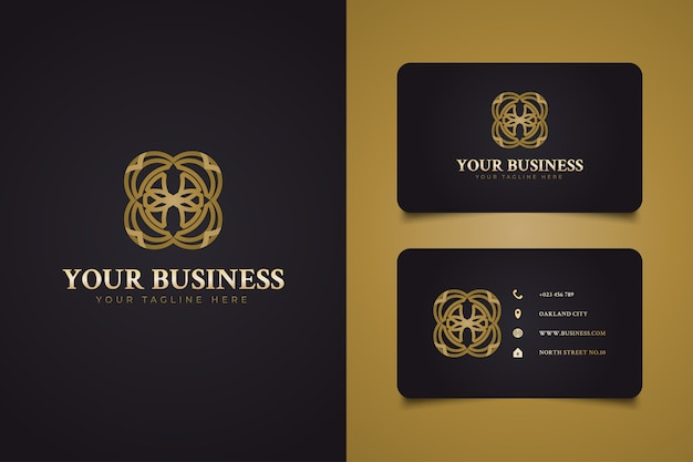 Logo rond abstrait luxueux avec forme de fleur dans le concept de style de ligne or, adapté au logo de station, hôtel, spa ou beauté