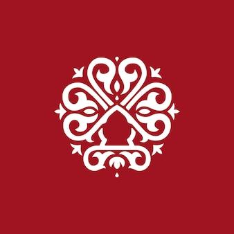 Logo rond abstrait, style formel de logo vintage.
