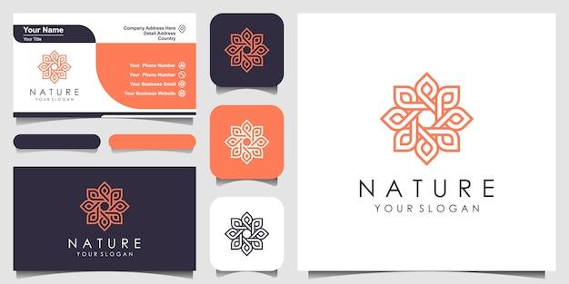 Logo rose floral élégant minimaliste pour la beauté, les cosmétiques, le yoga et le spa. création de logo et carte de visite