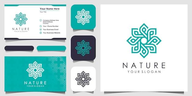 Logo rose floral élégant minimaliste avec style d'art en ligne. logo pour la beauté, les cosmétiques, le yoga et le spa. conception de logo et de carte de visite.