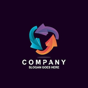 Logo de rotation de flèche colorée