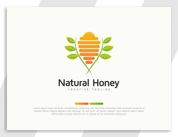 Logo de ruche d'abeilles fraîches avec illustration de feuilles vertes