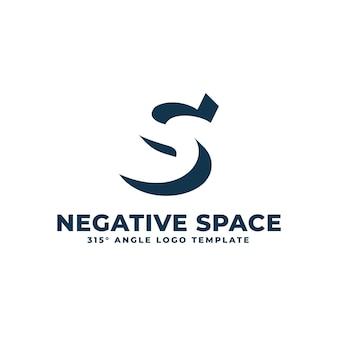 Logo s moderne propre espace négatif lettre géométrique illustration vectorielle