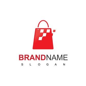 Logo de sac en mouvement rapide avec symbole de pixel pour magasin en ligne ou logo de vente au détail