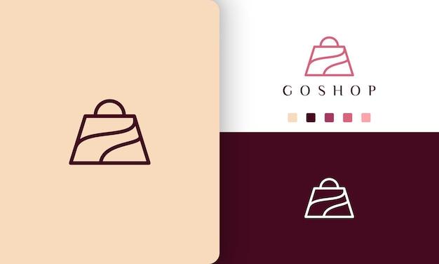 Logo de sac à provisions dans un style d'art simple et linéaire
