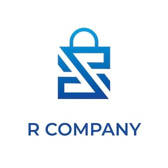 Logo de sac à provisions avec lettre r
