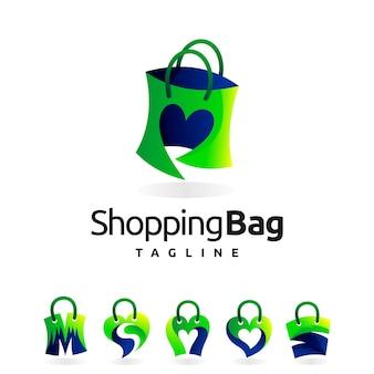 Logo de sac à provisions avec plusieurs formes