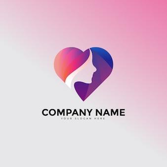 Logo de salon de beauté amour visage