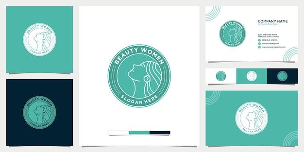 Logo de salon de beauté féminin avec conception de carte de visite
