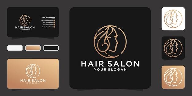 Logo de salon de beauté féminin avec style de dessin au trait et inspiration de carte de visite