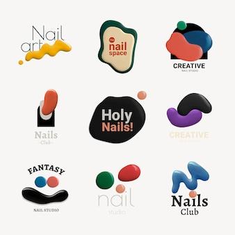 Logo de salon de beauté, modèle d'entreprise pour l'ensemble de vecteurs de conception de marque de salon de manucure