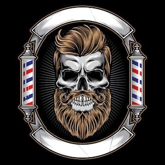 Logo de salon de coiffure avec crâne