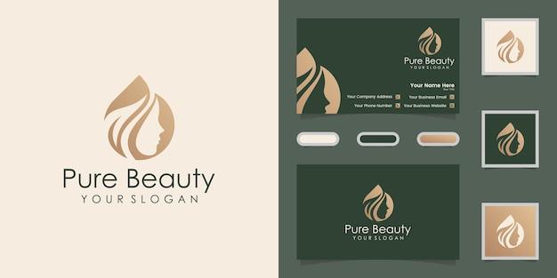 Logo de salon de coiffure huile et feuille de femme et carte de visite