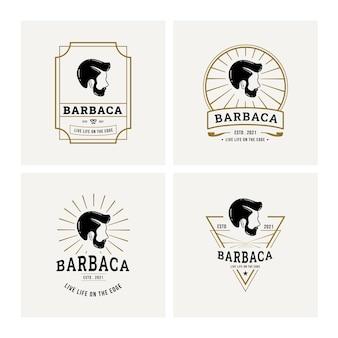 Logo de salon de coiffure et vecteur premium d'insigne