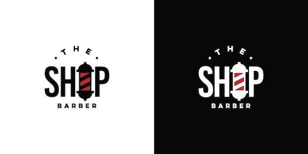 Logo de salon de coiffure vintage vecteur premium