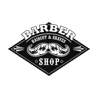 Logo de salon de coupe de cheveux avec moustaches monochromes, exemple de texte