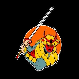 Logo de samouraï démon