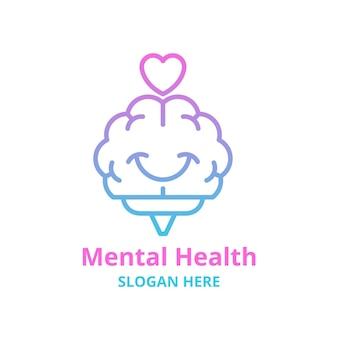Logo de santé mentale dégradé avec slogan