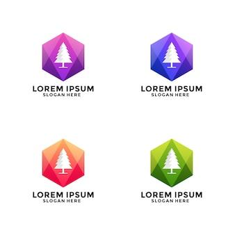 Logo de sapin de noël polygone