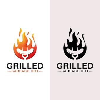 Logo de saucisse grillée chaude, barbecue, logo de barbecue avec version noire