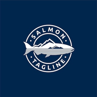 Logo de saumon avec concept d'emblème