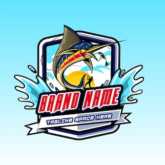 Logo saut de poisson dans l'hameçon