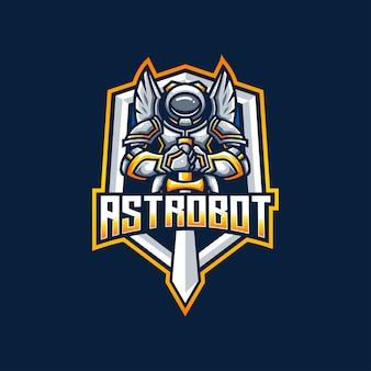 Logo de la science de l'épée du robot astronaute