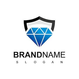 Logo sécurisé de diamant avec symbole de bouclier