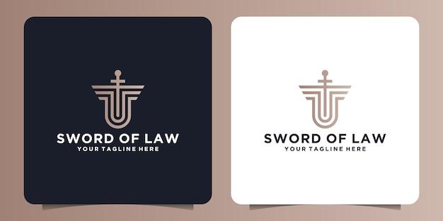 Logo de sécurité d'épée et de bouclier dans le style de ligne pour le tribunal, la loi et le palais de justice
