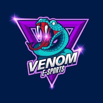 Logo de serpent d'e-sports, logo d'e-sport de venin