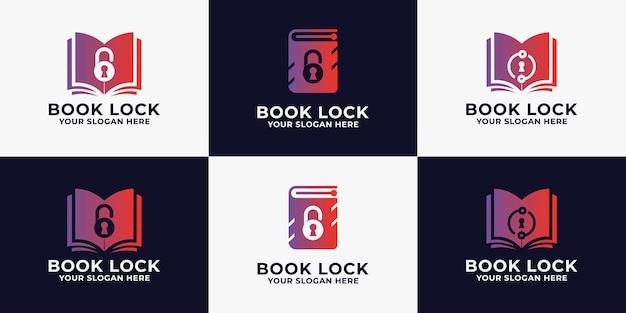 Logo de serrure de livre, logo d'inspiration pour journal intime ou éducatif