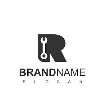 Logo de service avec la lettre r et le symbole de la clé