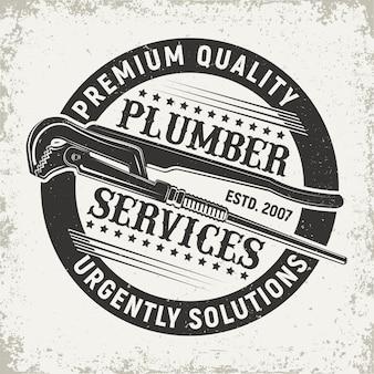 Logo de service de plombier vintage