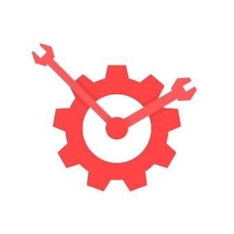 Logo de service de réparation rouge comme horloge. concept d'identité visuelle, ingénierie, garage de rechange, moteur automobile. illustration vectorielle de style plat tendance marque moderne design graphique sur fond blanc