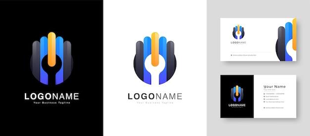 Logo de service de voiture d'administrateur de système de service de réparation de service automobile avec la carte de visite premium