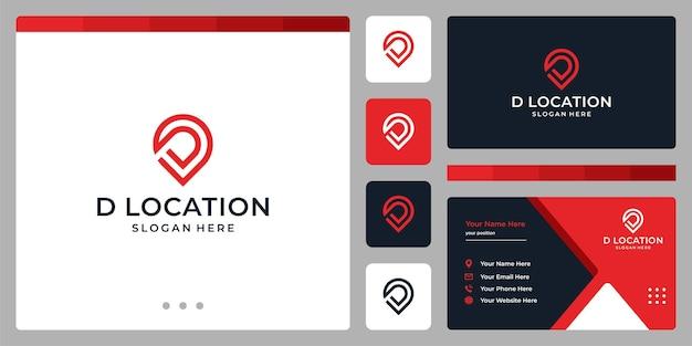 Logo de signe de localisation et lettre initiale d. conception de carte de visite.
