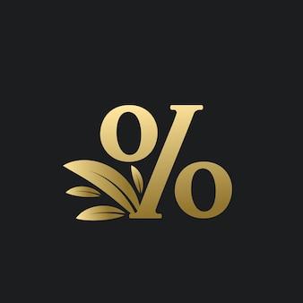 Logo de signe de pourcentage d'or avec des feuilles d'or. logo % caractère pourcentage avec feuille d'or.
