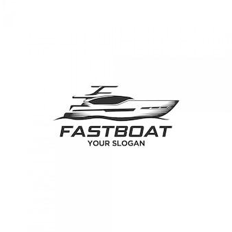 Logo de silhouette de bateau rapide