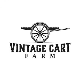 Logo de silhouette de chariot agricole vintage