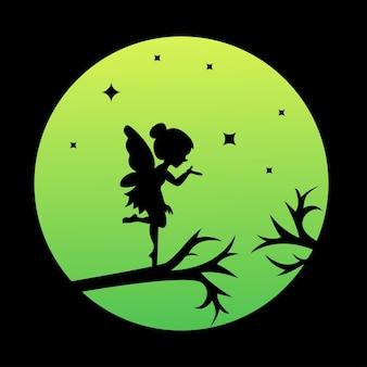 Logo de silhouette d'une fée sur le vecteur de lune