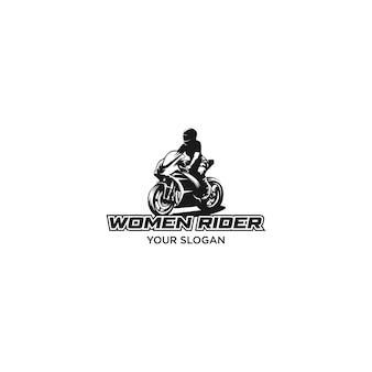 Logo de silhouette femme cavalier motorsport isolé sur blanc