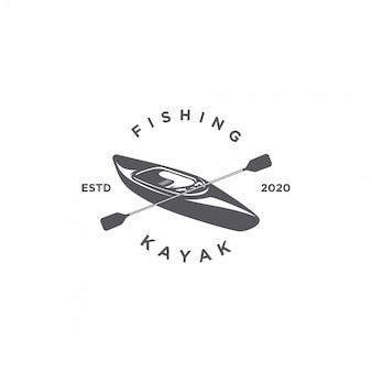 Logo de silhouette de kayak de pêche