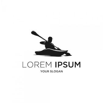 Logo de silhouette de kayak de rivière