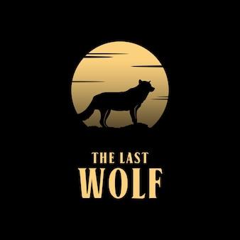Logo de silhouette de loup de pleine lune