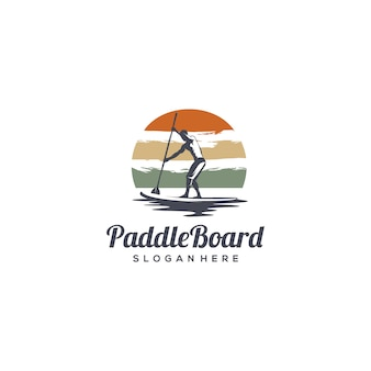 Logo silhouette paddle board vintage