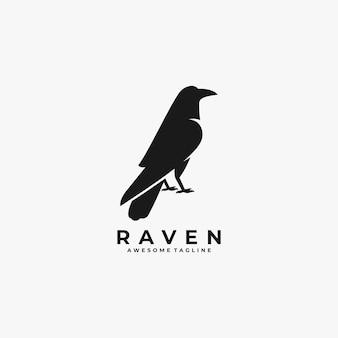 Logo de silhouette de raven pose.