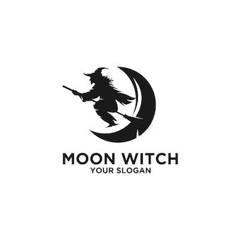 Logo de silhouette de sorcière de lune