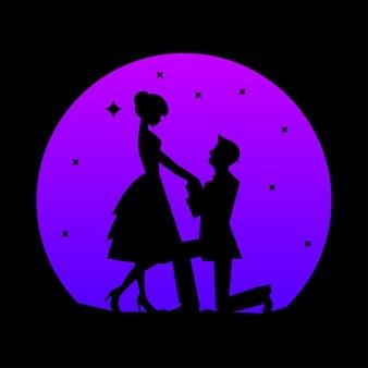 Logo de silhouette vecteur des amoureux sur la lune